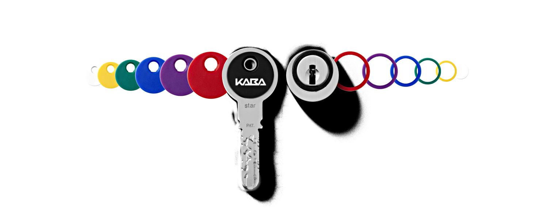Kaba-star-Schluessel-mit-Clips-und-Ringen